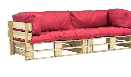 Canapé de Jardin Palette 2 pcs Coussins Gris Bois FSC Meuble Extérieur