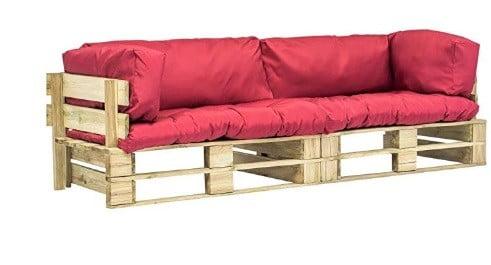 Canape De Jardin Palette 2 Pcs Coussins Gris Bois Fsc Meuble Exterieur Galerie Artisan