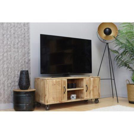 Meuble Tv Marius style industriel 4 roues métal bois massif
