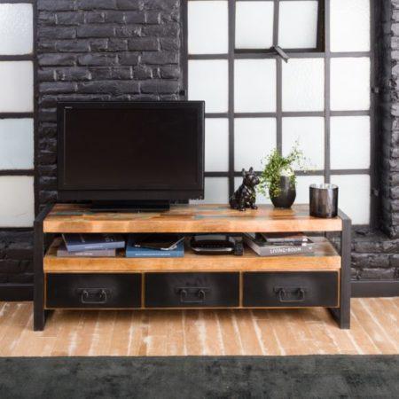 Meuble Tv industriel 3 tiroirs bois et métal