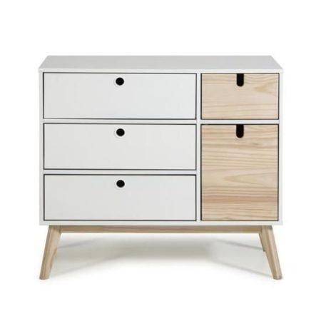 Commode  laqué et Pin 1 porte et 4 tiroirs – Décor naturel et Blanc – L 90 x P 40 x H