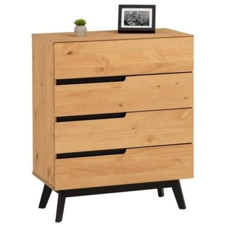 Commode TIBOR style scandinave design vintage nordique avec 4 tiroirs, en pin massif finition bois naturel teinté
