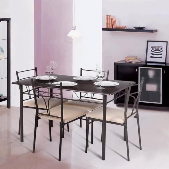 Table Set 4 Chaises Moderne Metal 5pcs Cadre Salle A Manger