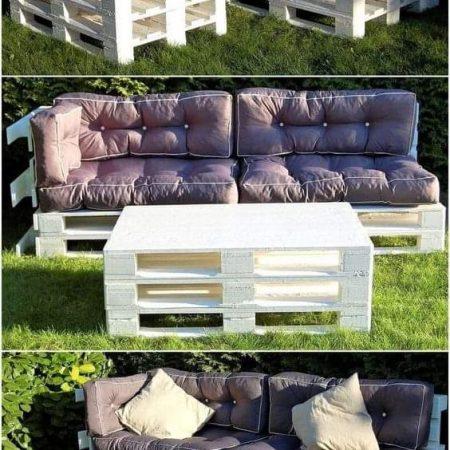 Canapé 2 places avec table + coussins