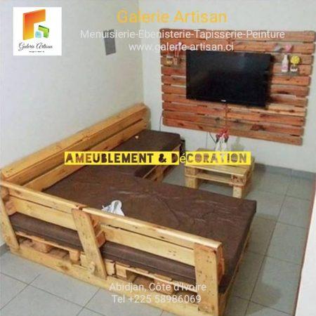 Canapé d'Angle 4 places avec coussins +1meuble télé