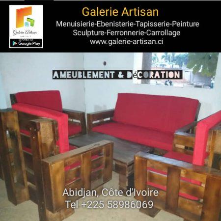 Salon Sabbat 05 places en palette, avec coussin