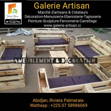 Salon lounge 08 places, avec coussins + 1table