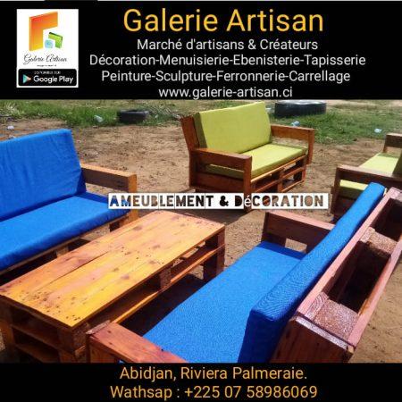 Salon celtic 04 places avec coussins + 1 table