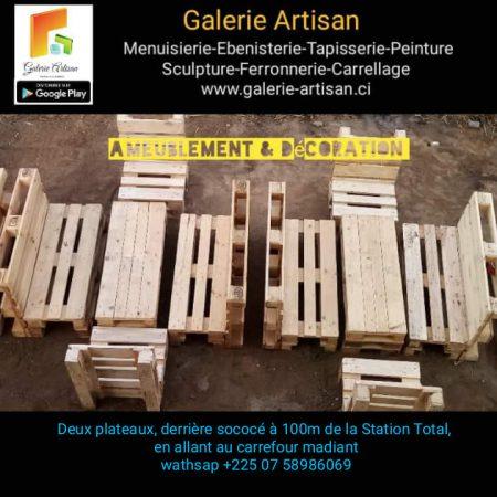 1 Salon Jardin 06 places, avec coussins + 1 table